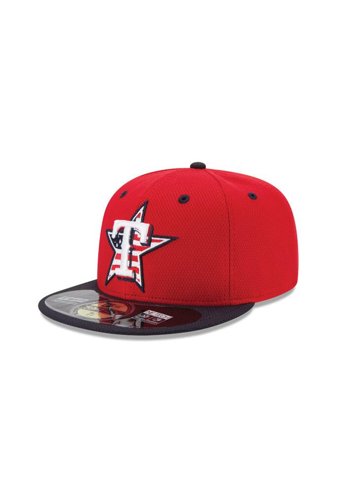 New Era Texas Rangers Mens Red Stars and Stripes Fitted Hat - Image 1