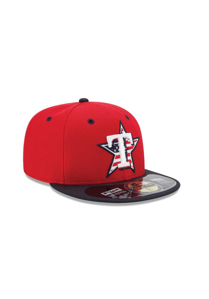 New Era Texas Rangers Mens Red Stars and Stripes Fitted Hat - Image 2