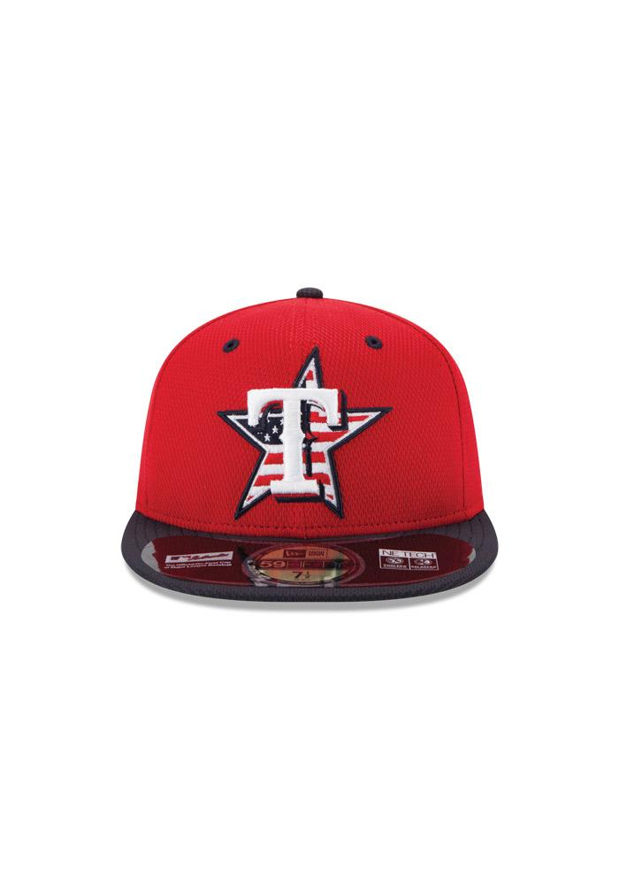 New Era Texas Rangers Mens Red Stars and Stripes Fitted Hat - Image 3