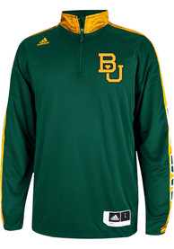Adidas Baylor Bears Mens Green On Court 1/4 Zip Pullover