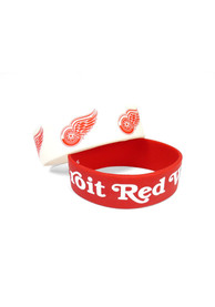 Detroit Red Wings Kids 2 Pack Silicone Bracelet - Red