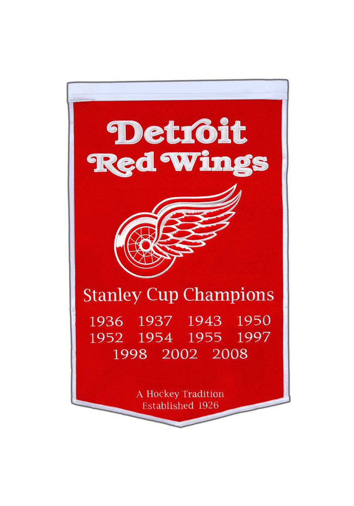 Detroit Red Wings 24x38 Dynasty Banner, Red, WOOL BLEND