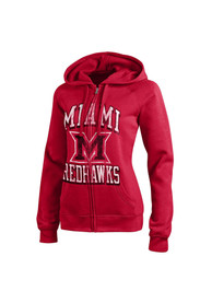 Miami Redhawks Juniors Red Eco Fleece Full Zip Jacket