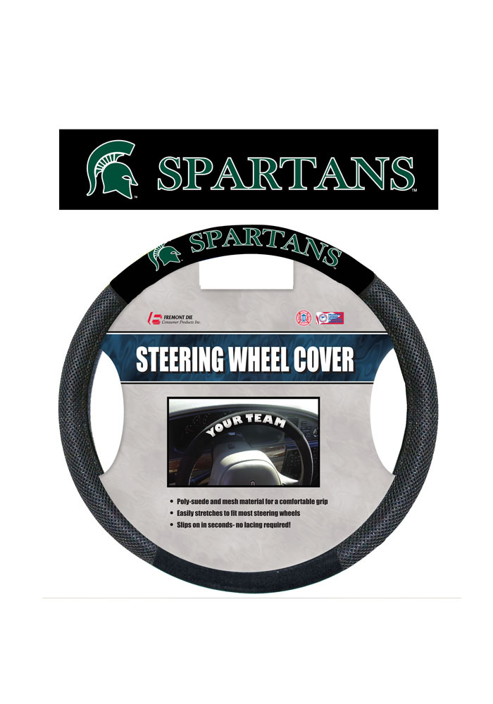Michigan State Spartans Poly-Suede Auto Steering Wheel Cover - Image 1