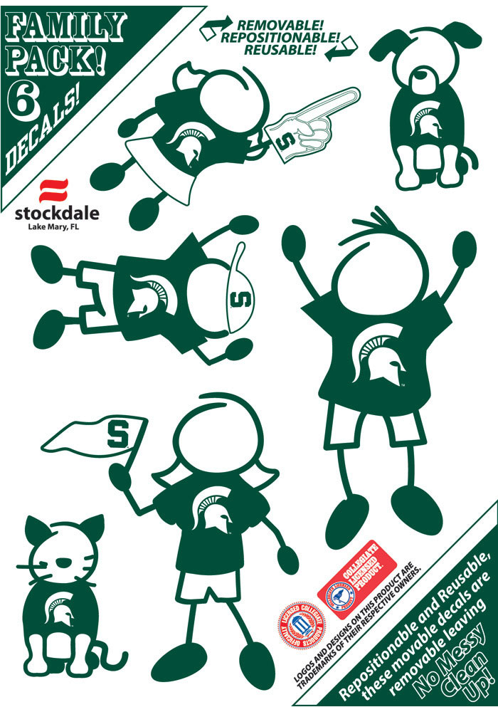 Michigan State Spartans 5x7 Family Pack Auto Decal - Green - Image 1