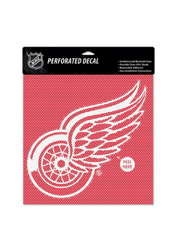 Detroit Red Wings 12x12 Perforated Auto Decal - Red - Image 1