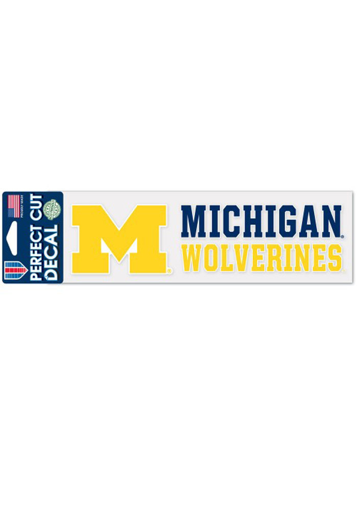 Michigan Wolverines 3x10 Stacked Perfect Cut Auto Auto Strip - Image 1