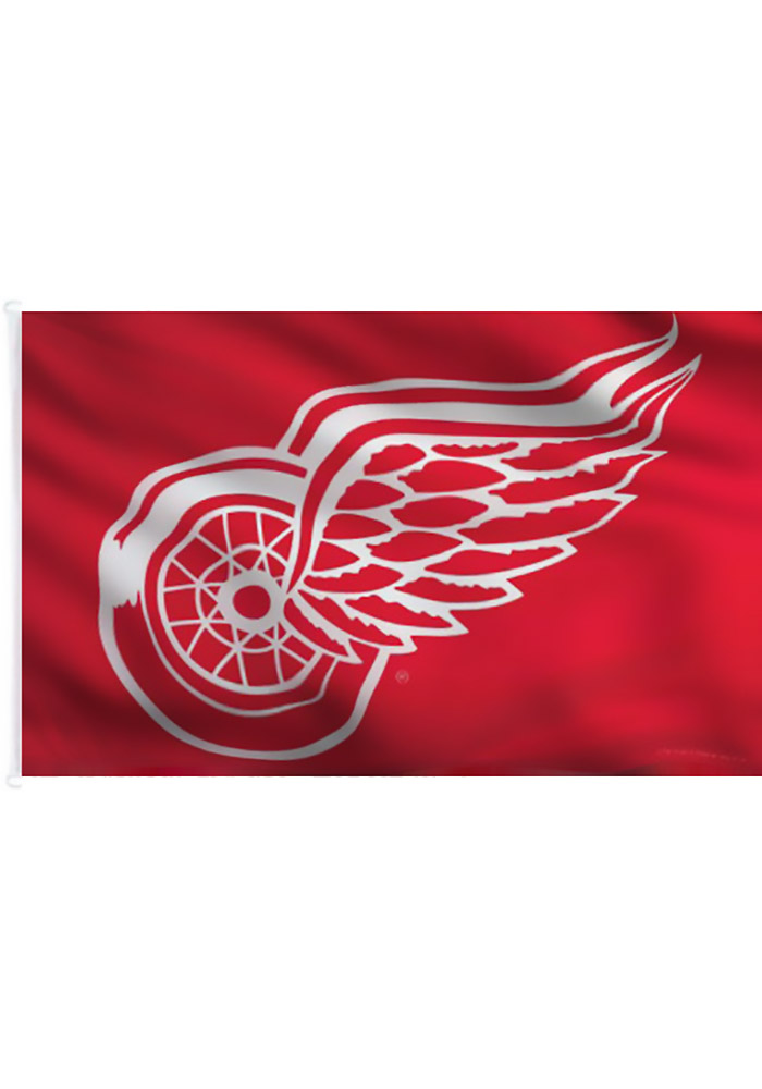 Detroit Red Wings 3x5 Red Red Silk Screen Grommet Flag - Image 1