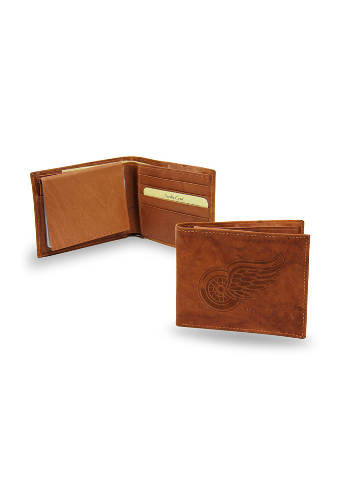 Detroit Red Wings Embossed Leather Mens Bifold Wallet - Image 1