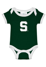 Michigan State Spartans Baby Green Ringer Short Sleeve One Piece