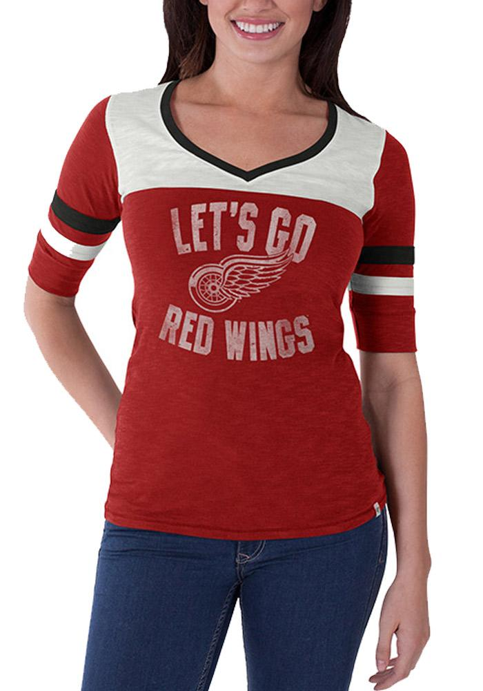 '47 Detroit Red Wings Womens Red Gameday Debut V-Neck T-Shirt - Image 1