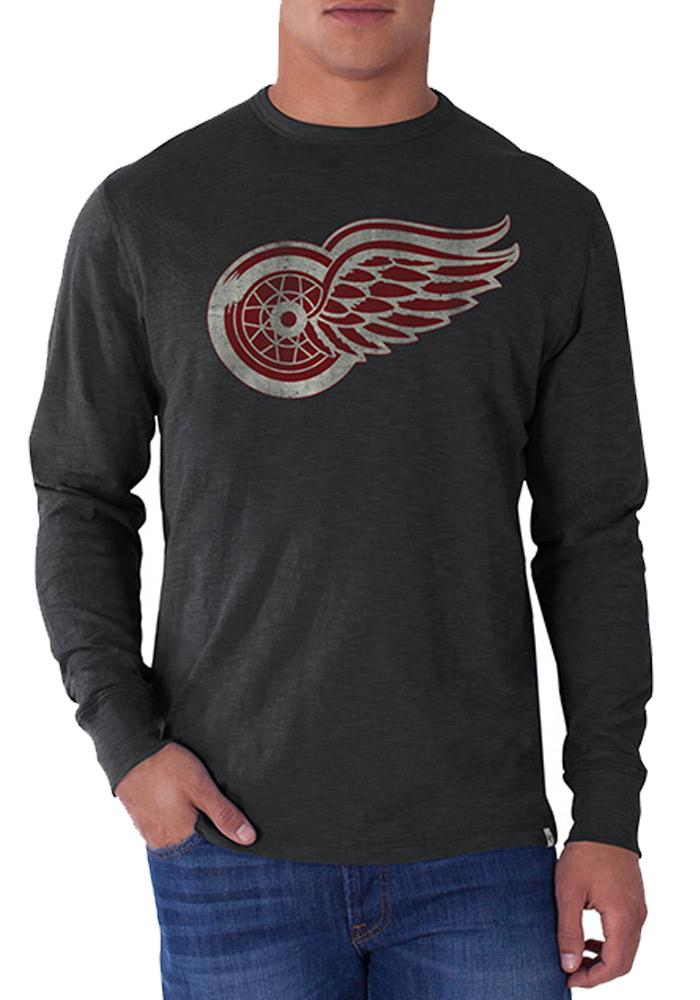 47 Detroit Red Wings Charcoal Scrum Long Sleeve Fashion T Shirt - Image 1