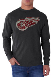 47 Detroit Red Wings Charcoal Scrum Long Sleeve Fashion T Shirt