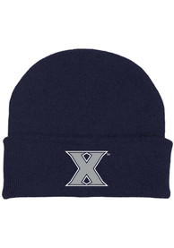 Xavier Musketeers Infant Cuffed Newborn Knit Hat - Navy Blue