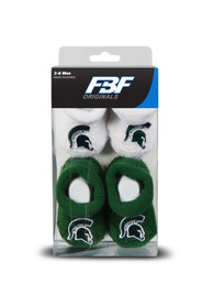 Michigan State Spartans Baby 2pk Knit Bootie Boxed Set - Green