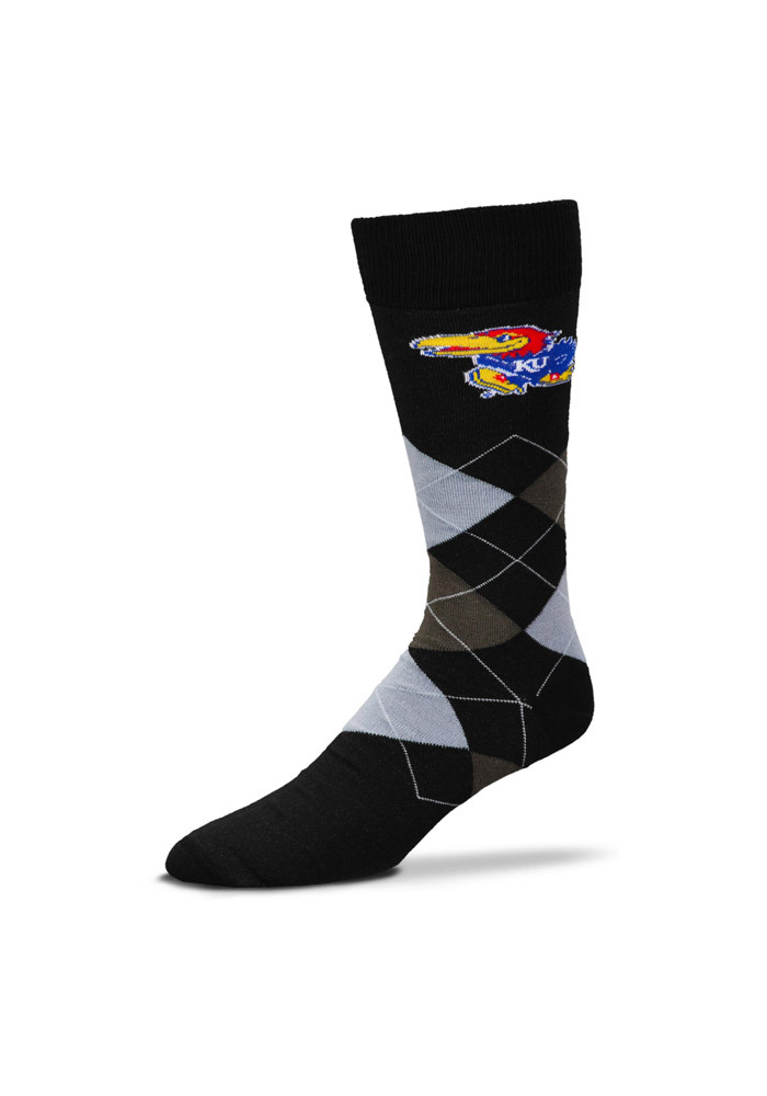 Kansas Jayhawks Acrylic Argyle Socks - Black