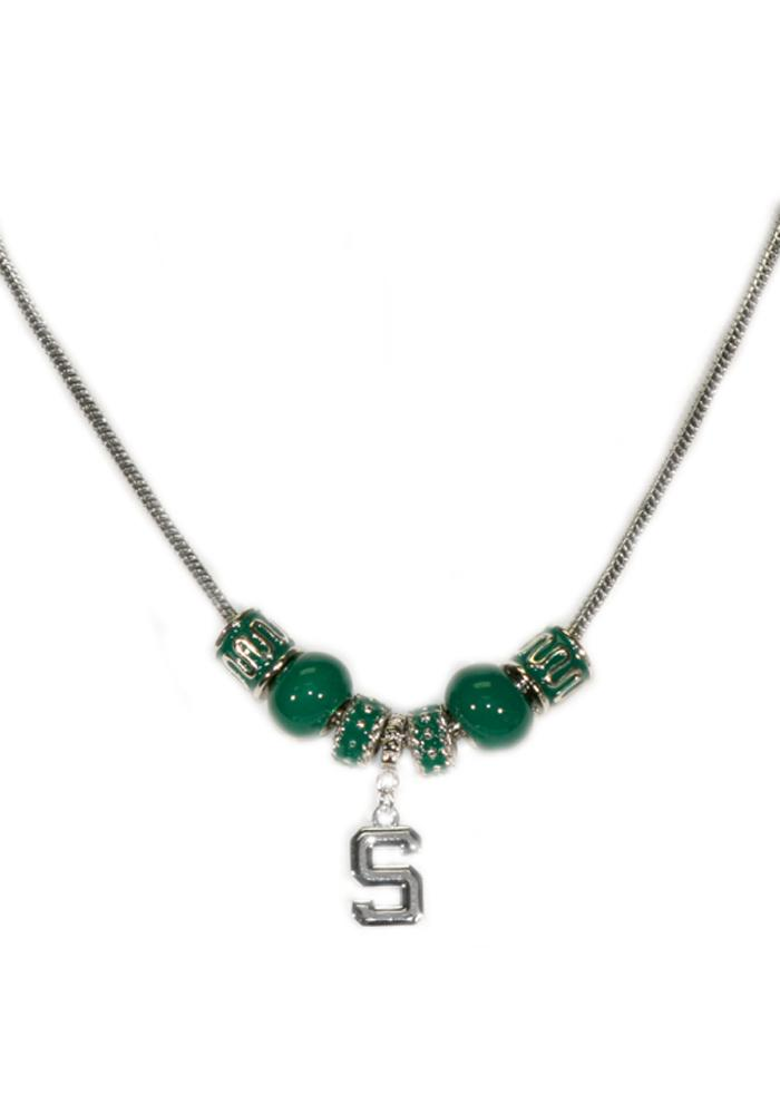 Michigan State Spartans Womens Beaded Necklace - Green