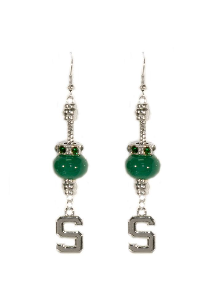 Michigan State Spartans Womens Beaded Dangle Earrings - Green