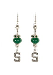 Michigan State Spartans Beaded Dangle Womens Earrings