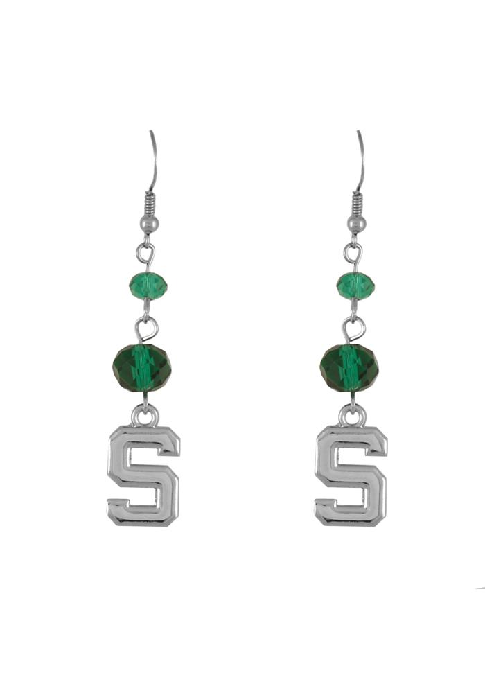 Michigan State Spartans Crystal Bead Womens Earrings