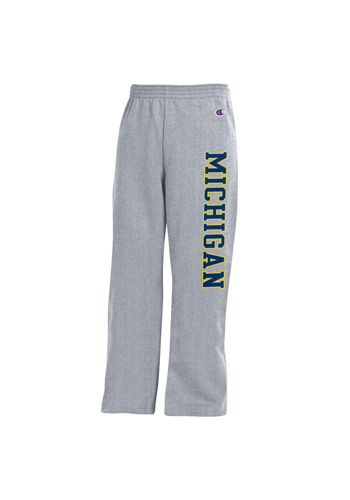 Michigan Wolverines Youth Grey Open Bottom Sweatpants - Image 1