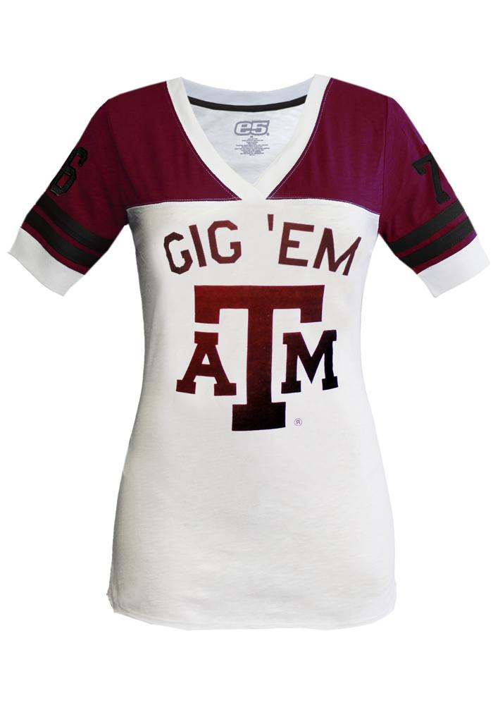 Texas A&M Aggies Juniors White Football Flocking V-Neck T-Shirt - Image 1