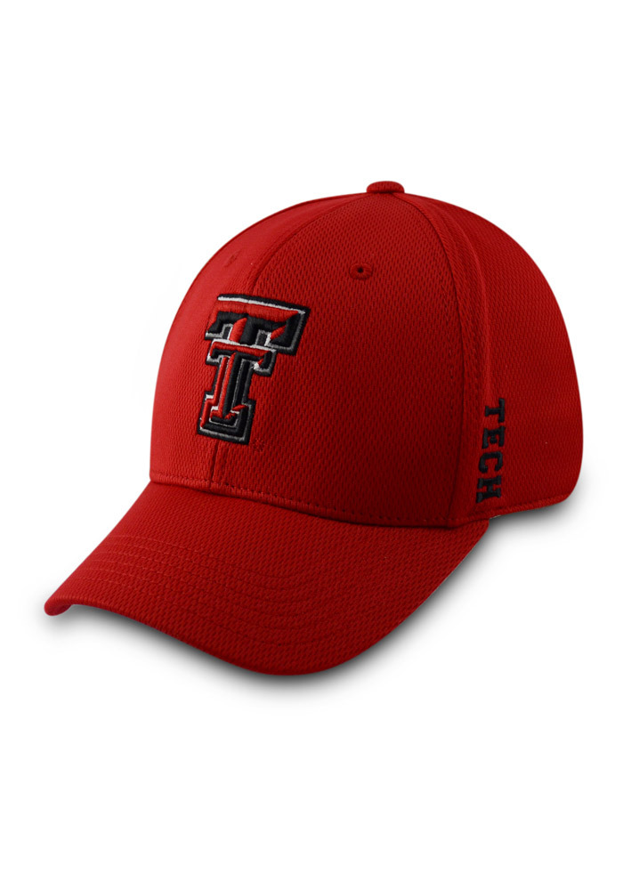 Top of the World Texas Tech Red Raiders Mens Red Booster 1Fit Flex Hat - Image 1