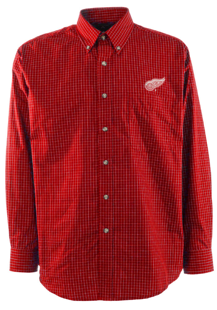 Antigua Detroit Red Wings Mens Red Esteem Long Sleeve Dress Shirt - Image 1