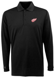 Antigua Detroit Red Wings Mens Black Exceed Long Sleeve Polo Shirt