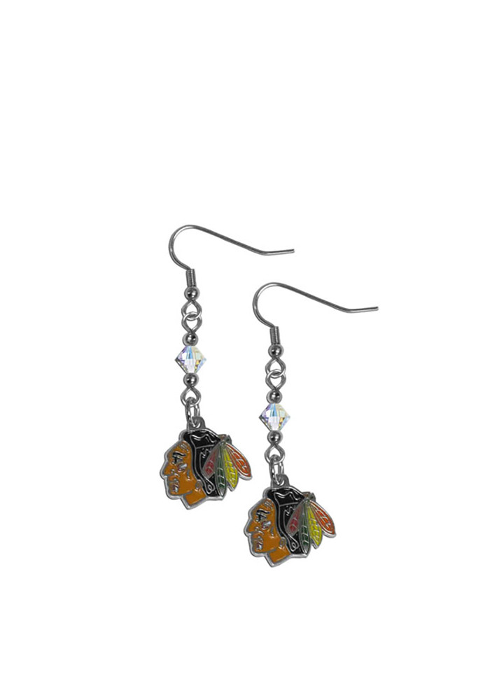 Chicago Blackhawks Crystal and Logo Dangle Womens Earrings - Image 1