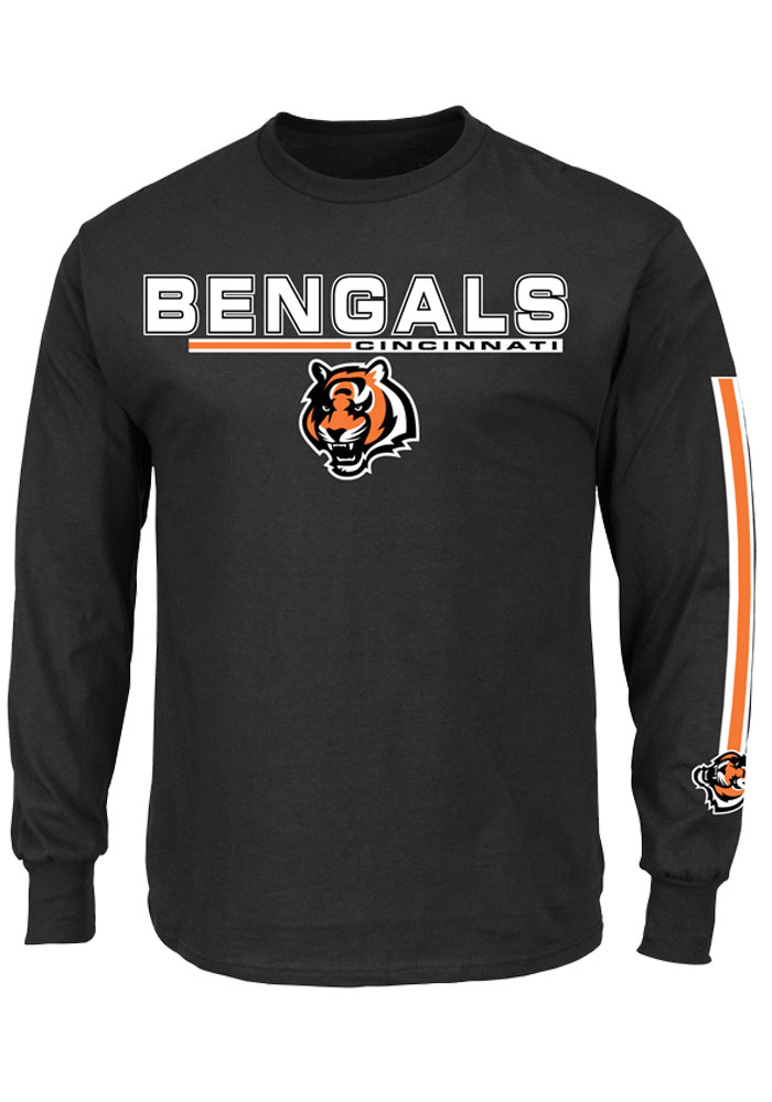 Cincinnati Bengals Mens Black Primary Receiver V Big and Tall Long Sleeve T-Shirt - Image 1