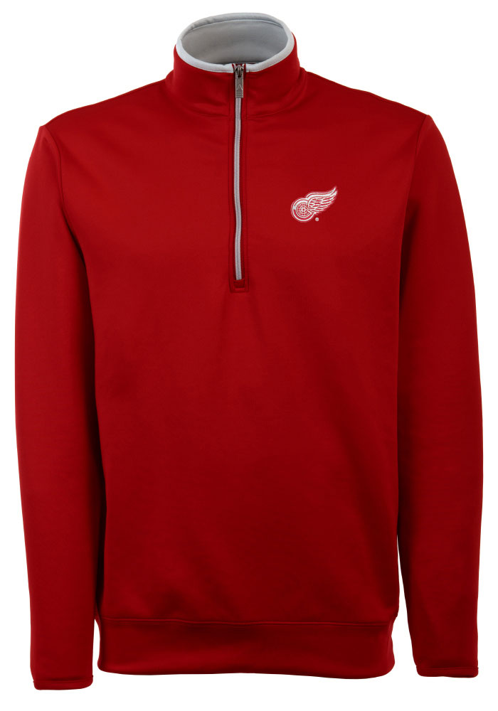 Antigua Detroit Red Wings Mens Red Leader Long Sleeve 1/4 Zip Pullover - Image 1