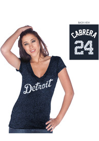 Miguel Cabrera Majestic Threads Detroit Tigers Womens Navy Blue Cabrera Player Tee Player Tee