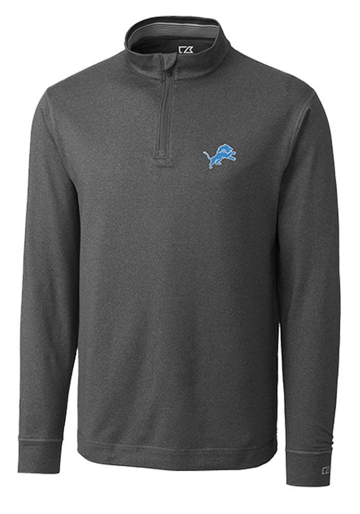 Cutter and Buck Detroit Lions Mens Grey Topspin Long Sleeve 1/4 Zip Pullover - Image 1