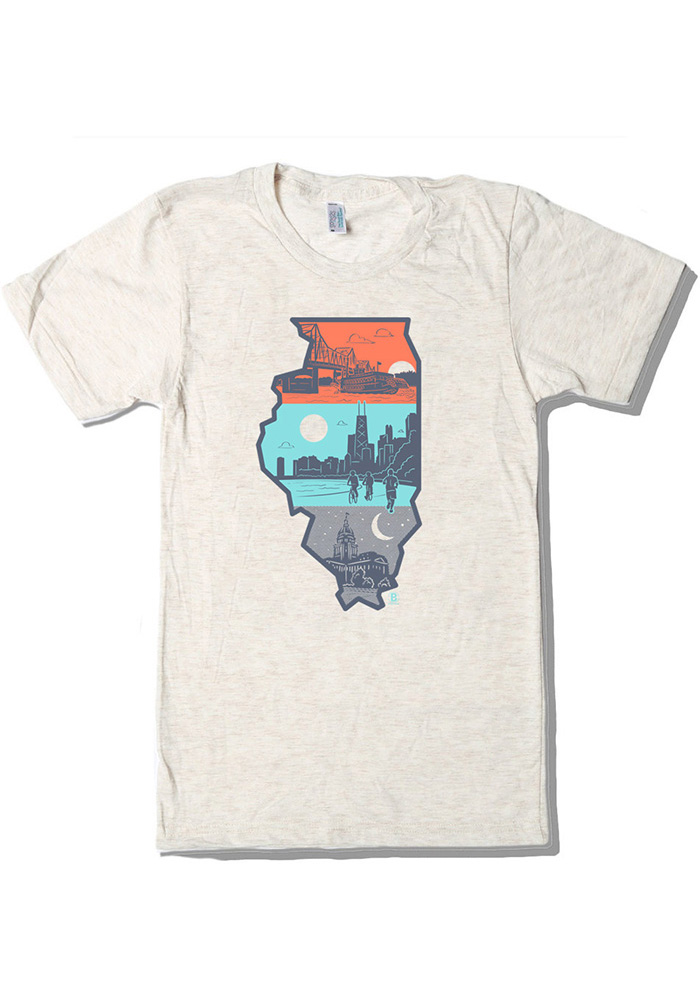 Bozz Prints Chicago Natural Layers of Illinois Short Sleeve Fashion T Shirt - Image 1
