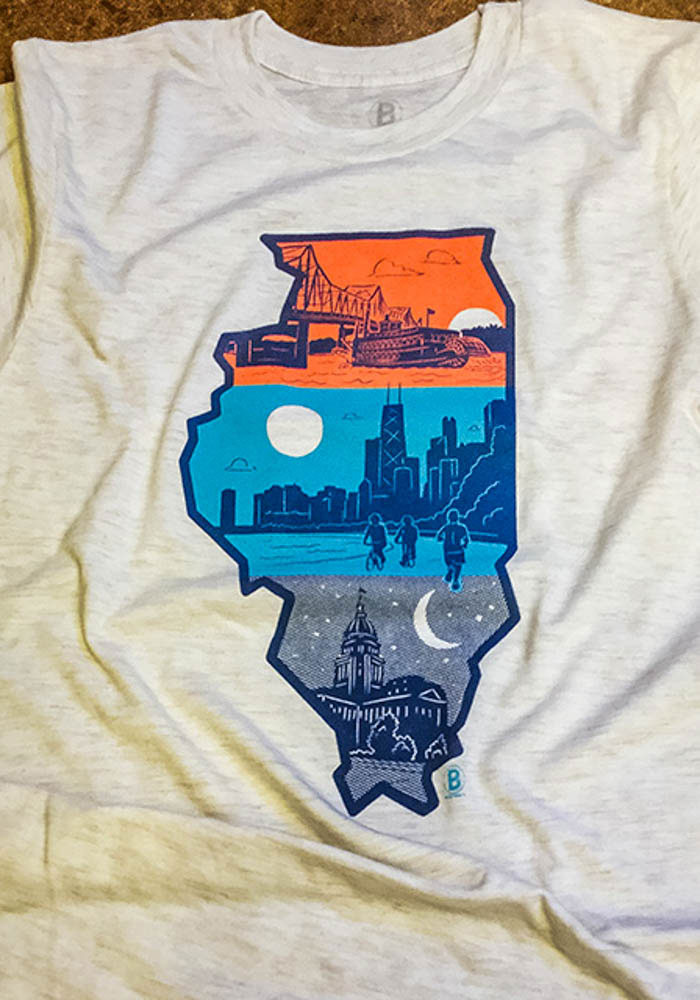 Bozz Prints Chicago Natural Layers of Illinois Short Sleeve Fashion T Shirt - Image 2