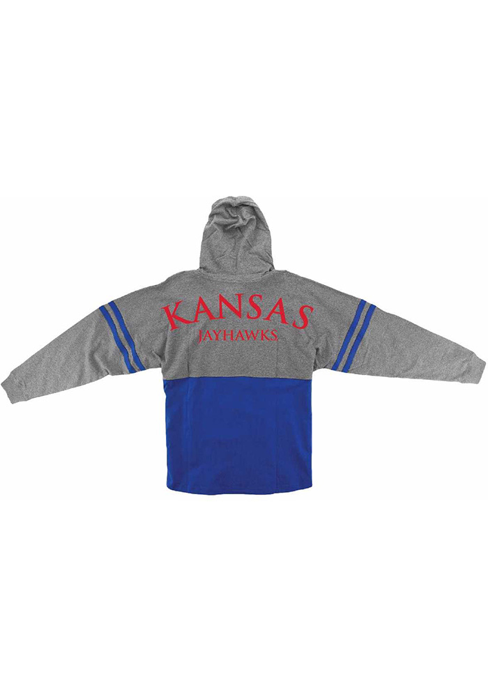Kansas Jayhawks Womens Blue Pom Pom Hooded Sweatshirt - Image 2