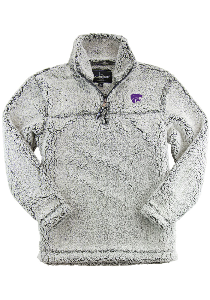 K-State Wildcats Womens Grey Sherpa 1/4 Zip Pullover - Image 1