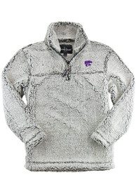 K-State Wildcats Womens Sherpa 1/4 Zip Pullover - Grey