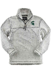 Michigan State Spartans Womens Grey Sherpa 1/4 Zip Pullover