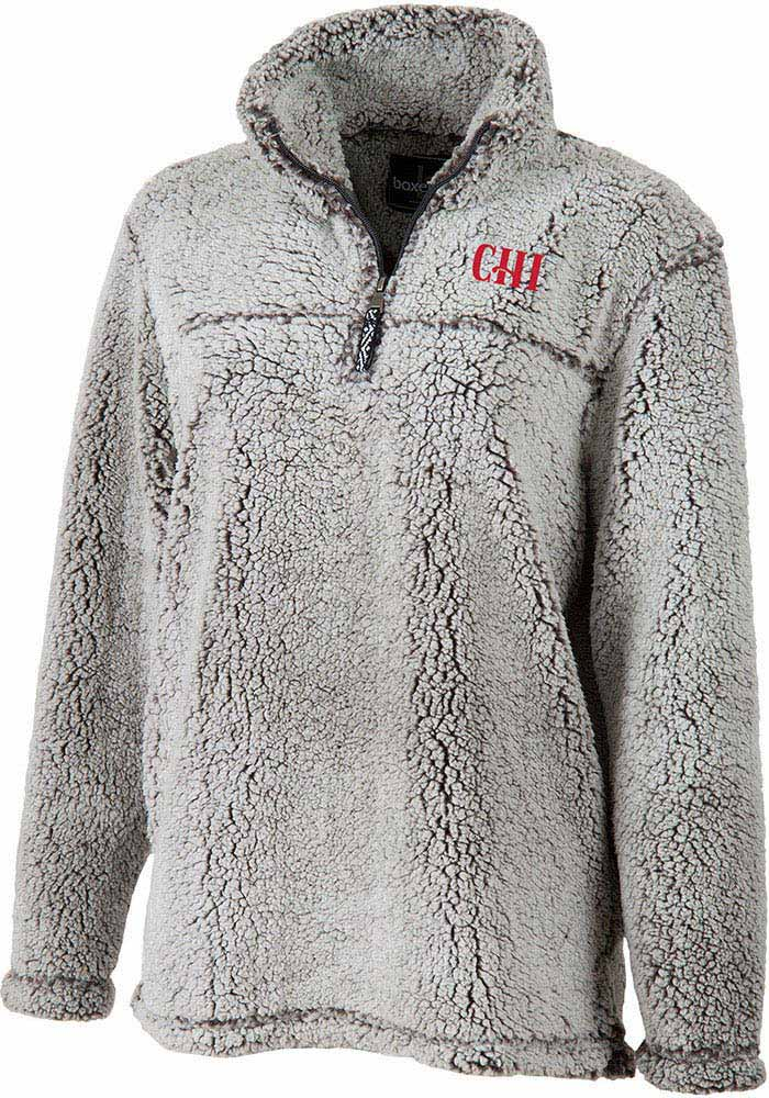 Chicago Womens Grey Sherpa 1/4 Zip Pullover - Image 1