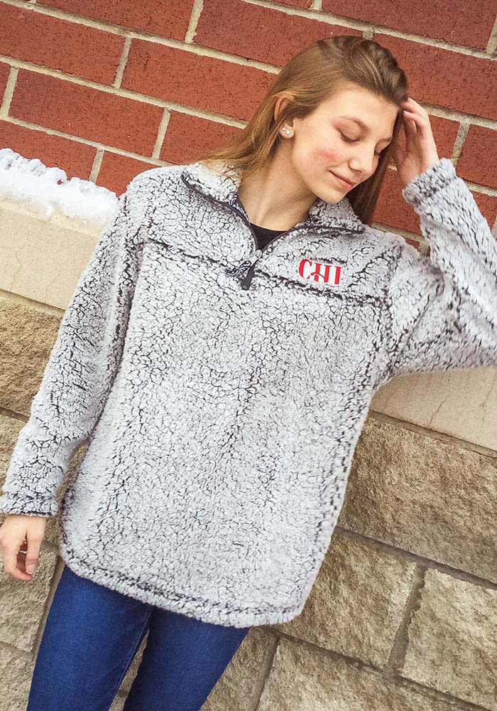 Chicago Womens Grey Long Sleeve Sherpa 1/4 Zip Pullover - Image 2