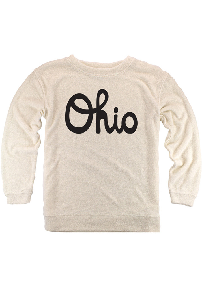 Ohio Womens Oatmeal Script Long Sleeve Cozy Crew Sweatshirt - Image 1