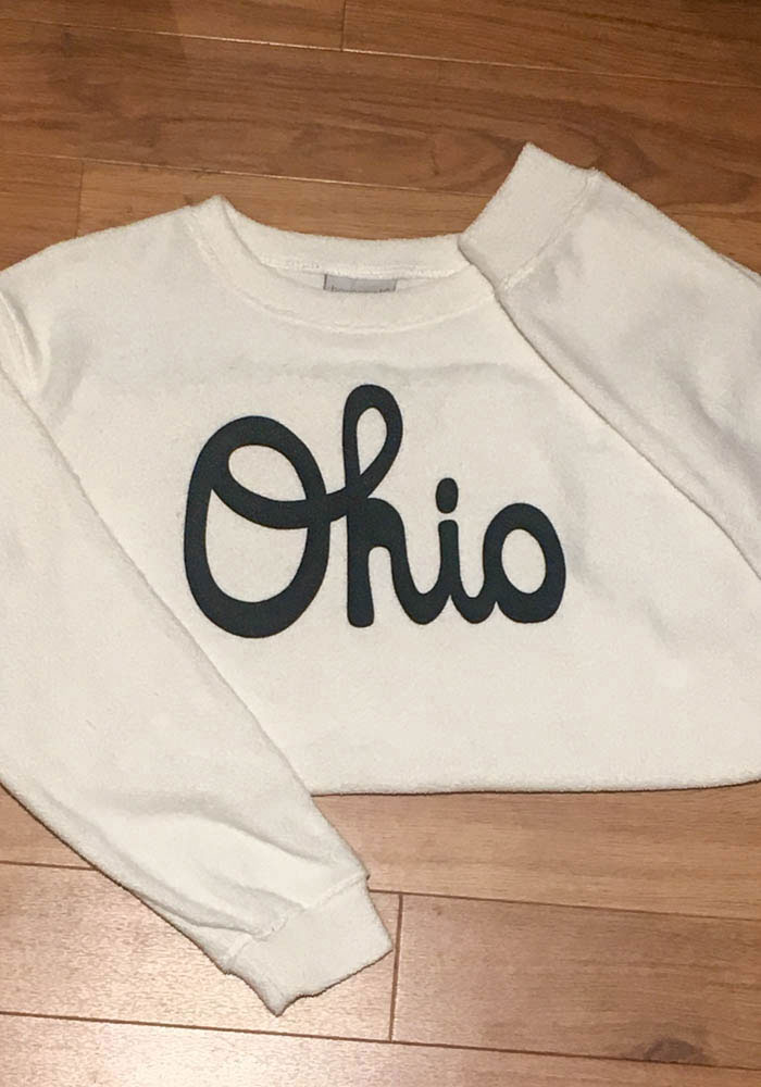 Ohio Womens Oatmeal Script Long Sleeve Cozy Crew Sweatshirt - Image 2