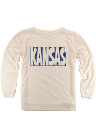 Kansas Womens Oatmeal State Shape Wordmark Cozy Long Sleeve Crew Sweatshirt