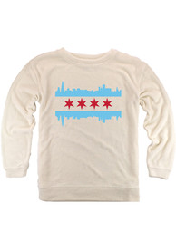 Chicago Womens Oatmeal Skyline Flag Cozy Long Sleeve Crew Sweatshirt