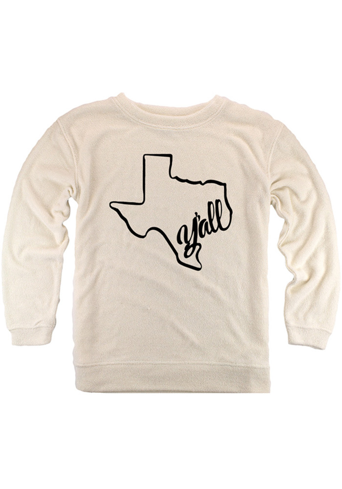 Texas Womens Oatmeal Y'all State Shape Cozy Crew Long Sleeve Sweatshirt - Image 1