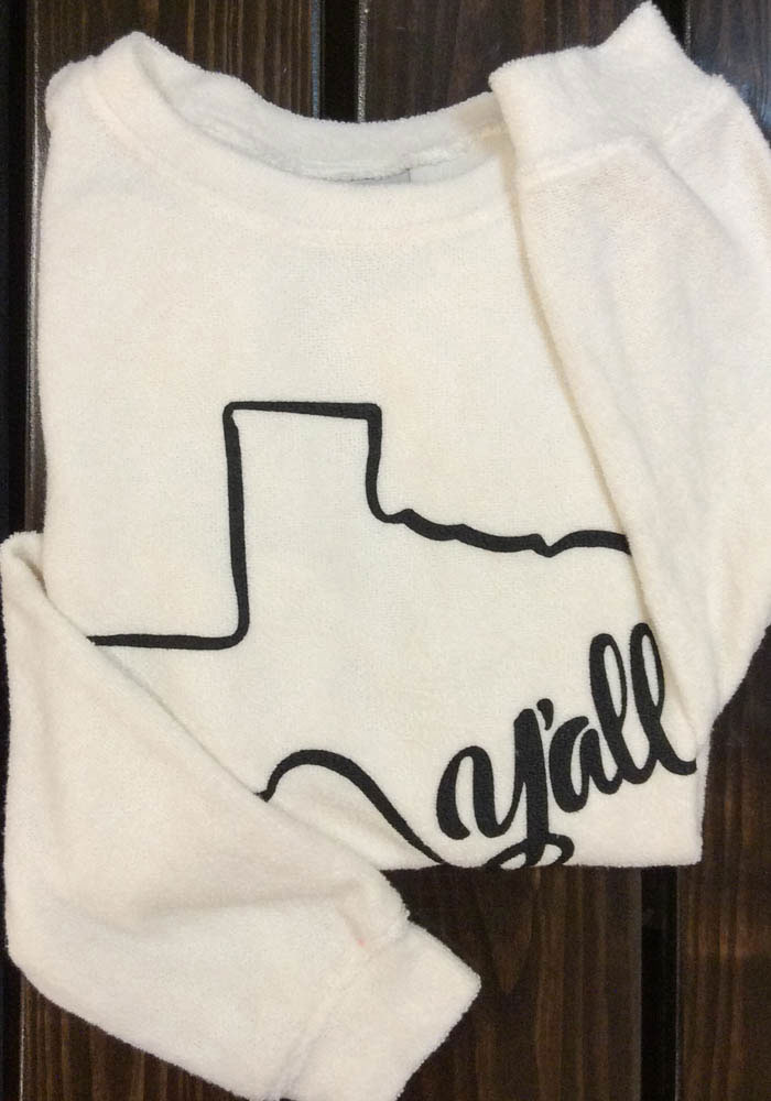 Texas Womens Oatmeal Y'all State Shape Cozy Crew Long Sleeve Sweatshirt - Image 2