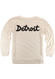 Detroit Womens Oatmeal Script Cozy Long Sleeve Crew Sweatshirt