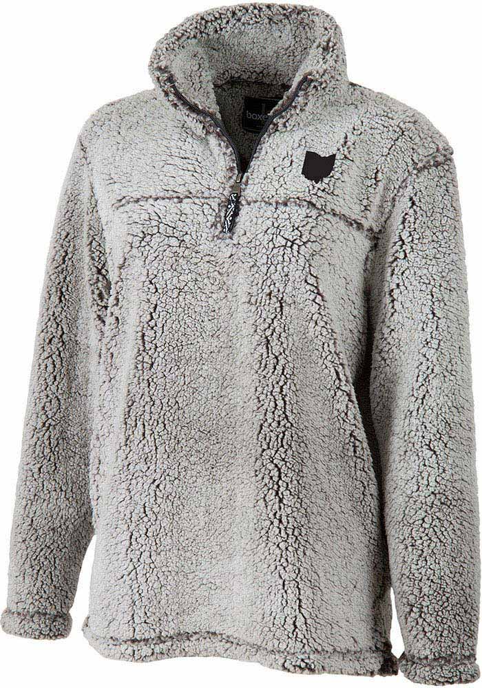 Ohio Womens Grey State Shape Long Sleeve Sherpa 1/4 Zip Pullover - Image 1